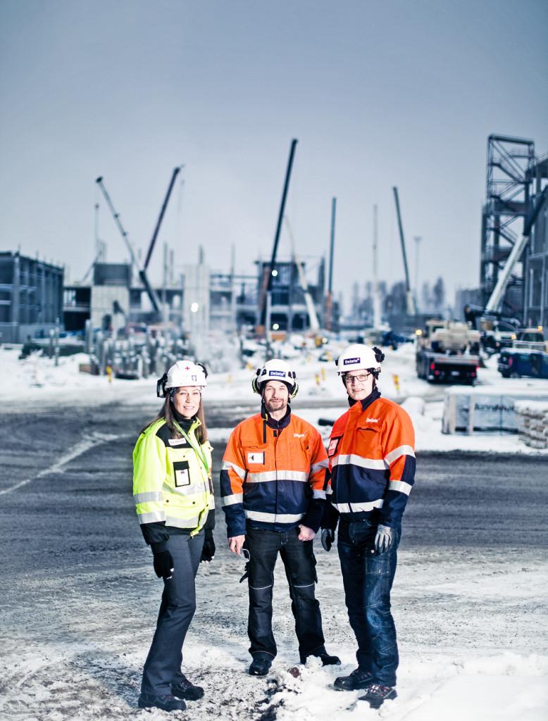 Camilla Wikström Metsä Fibre tillsammans med Jari Haltunen och Raimo Huhtala från Delete
